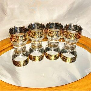 VTG Culver Cocktail Glasses Ebony Baroque Barware